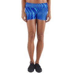 Blue Background Light Glow Abstract Art Yoga Shorts