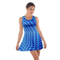 Blue Background Light Glow Abstract Art Cotton Racerback Dress