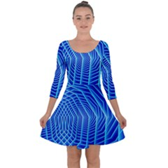 Blue Background Light Glow Abstract Art Quarter Sleeve Skater Dress