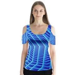 Blue Background Light Glow Abstract Art Butterfly Sleeve Cutout Tee