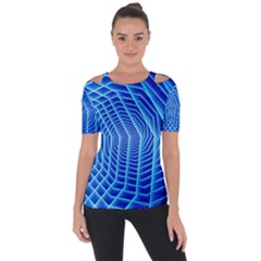 Blue Background Light Glow Abstract Art Short Sleeve Top