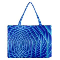 Blue Background Light Glow Abstract Art Zipper Medium Tote Bag