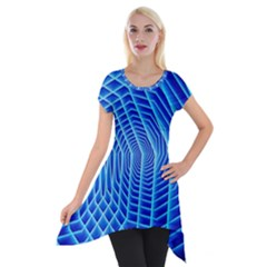 Blue Background Light Glow Abstract Art Short Sleeve Side Drop Tunic