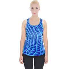 Blue Background Light Glow Abstract Art Piece Up Tank Top