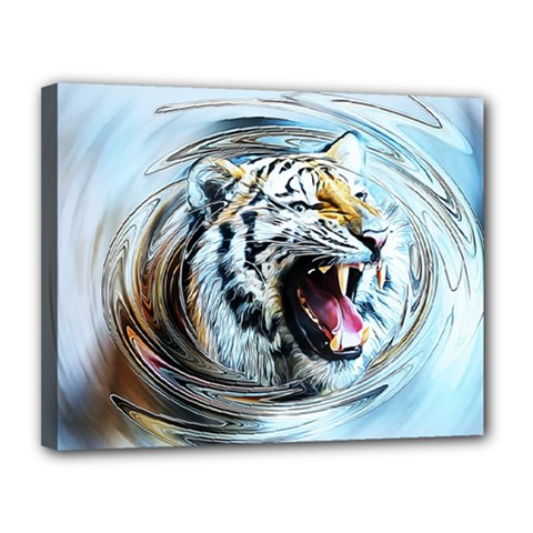 Tiger Animal Art Swirl Decorative Canvas 14  X 11