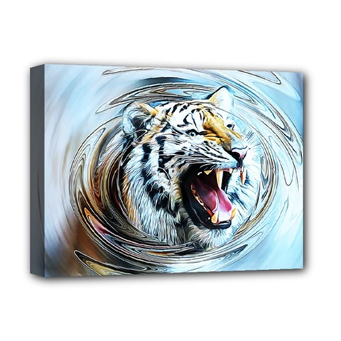 Tiger Animal Art Swirl Decorative Deluxe Canvas 16  X 12