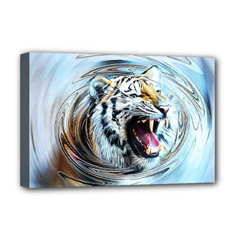 Tiger Animal Art Swirl Decorative Deluxe Canvas 18  X 12