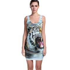 Tiger Animal Art Swirl Decorative Bodycon Dress
