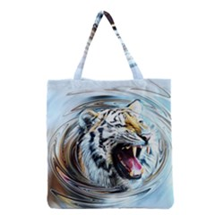Tiger Animal Art Swirl Decorative Grocery Tote Bag by Nexatart