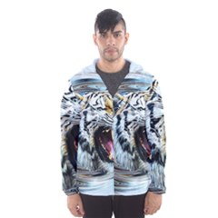 Tiger Animal Art Swirl Decorative Hooded Wind Breaker (men)