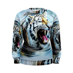 Tiger Animal Art Swirl Decorative Women s Sweatshirt
