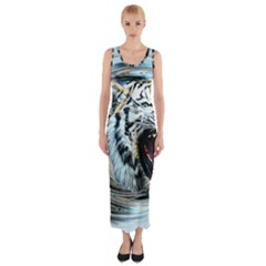 Tiger Animal Art Swirl Decorative Fitted Maxi Dress
