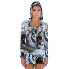 Tiger Animal Art Swirl Decorative Long Sleeve Hooded T Shirt
