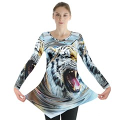 Tiger Animal Art Swirl Decorative Long Sleeve Tunic