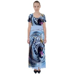 Tiger Animal Art Swirl Decorative High Waist Short Sleeve Maxi Dress