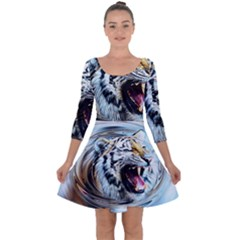 Tiger Animal Art Swirl Decorative Quarter Sleeve Skater Dress