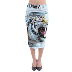 Tiger Animal Art Swirl Decorative Midi Pencil Skirt