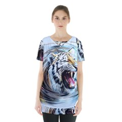 Tiger Animal Art Swirl Decorative Skirt Hem Sports Top