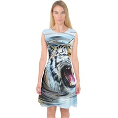 Tiger Animal Art Swirl Decorative Capsleeve Midi Dress