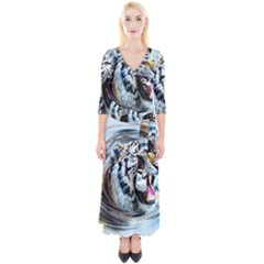 Tiger Animal Art Swirl Decorative Quarter Sleeve Wrap Maxi Dress