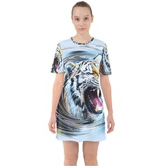 Tiger Animal Art Swirl Decorative Sixties Short Sleeve Mini Dress