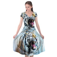 Tiger Animal Art Swirl Decorative Cap Sleeve Wrap Front Dress