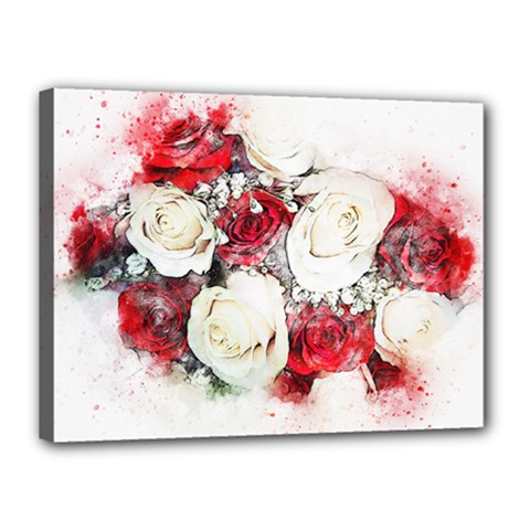 Flowers Roses Bouquet Art Nature Canvas 16  X 12