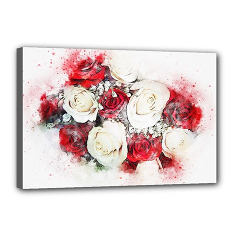 Flowers Roses Bouquet Art Nature Canvas 18  X 12