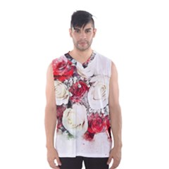 Flowers Roses Bouquet Art Nature Men s Basketball Tank Top