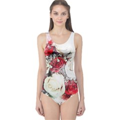 Flowers Roses Bouquet Art Nature One Piece Swimsuit