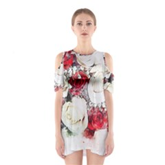 Flowers Roses Bouquet Art Nature Shoulder Cutout One Piece