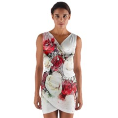 Flowers Roses Bouquet Art Nature Wrap Front Bodycon Dress