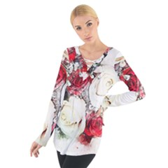 Flowers Roses Bouquet Art Nature Tie Up Tee
