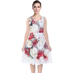 Flowers Roses Bouquet Art Nature V Neck Midi Sleeveless Dress