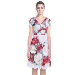 Flowers Roses Bouquet Art Nature Short Sleeve Front Wrap Dress