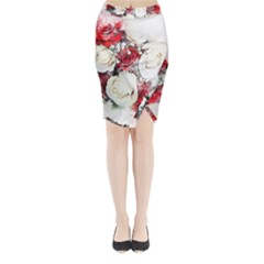 Flowers Roses Bouquet Art Nature Midi Wrap Pencil Skirt