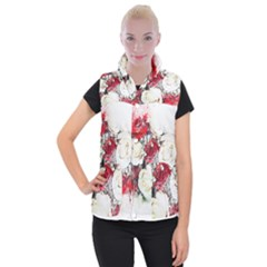 Flowers Roses Bouquet Art Nature Women s Button Up Puffer Vest