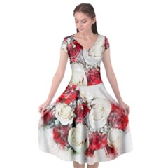 Flowers Roses Bouquet Art Nature Cap Sleeve Wrap Front Dress