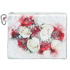 Flowers Roses Bouquet Art Nature Canvas Cosmetic Bag (xxl) by Nexatart