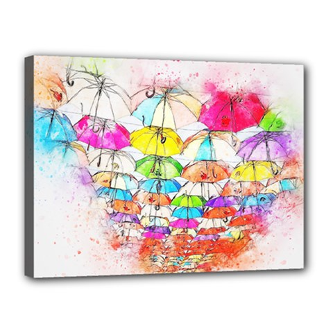 Umbrella Art Abstract Watercolor Canvas 16  X 12