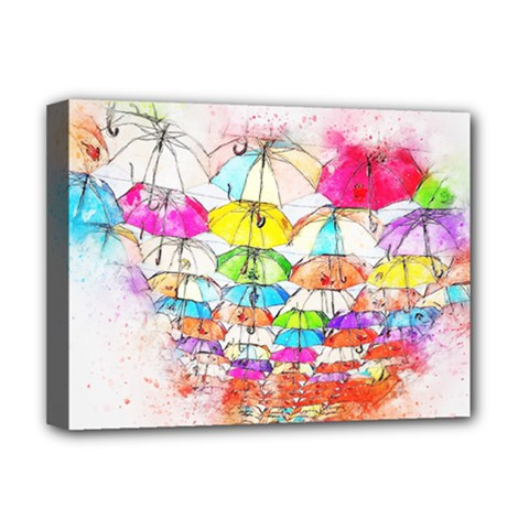 Umbrella Art Abstract Watercolor Deluxe Canvas 16  X 12
