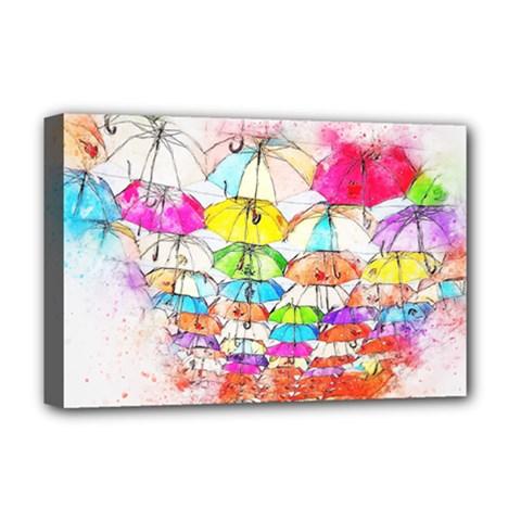 Umbrella Art Abstract Watercolor Deluxe Canvas 18  X 12   by Nexatart