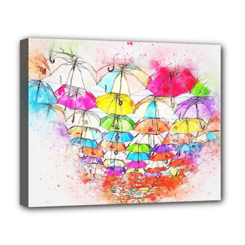 Umbrella Art Abstract Watercolor Deluxe Canvas 20  X 16   by Nexatart