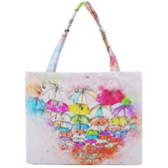 Umbrella Art Abstract Watercolor Mini Tote Bag