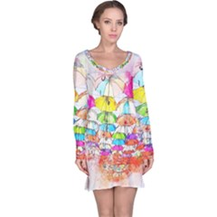 Umbrella Art Abstract Watercolor Long Sleeve Nightdress