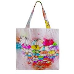 Umbrella Art Abstract Watercolor Zipper Grocery Tote Bag