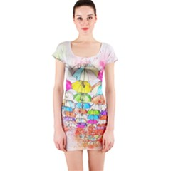 Umbrella Art Abstract Watercolor Short Sleeve Bodycon Dress