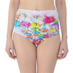 Umbrella Art Abstract Watercolor High Waist Bikini Bottoms