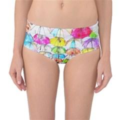 Umbrella Art Abstract Watercolor Mid Waist Bikini Bottoms