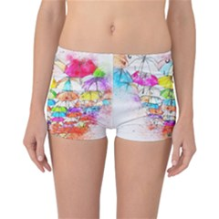 Umbrella Art Abstract Watercolor Reversible Boyleg Bikini Bottoms